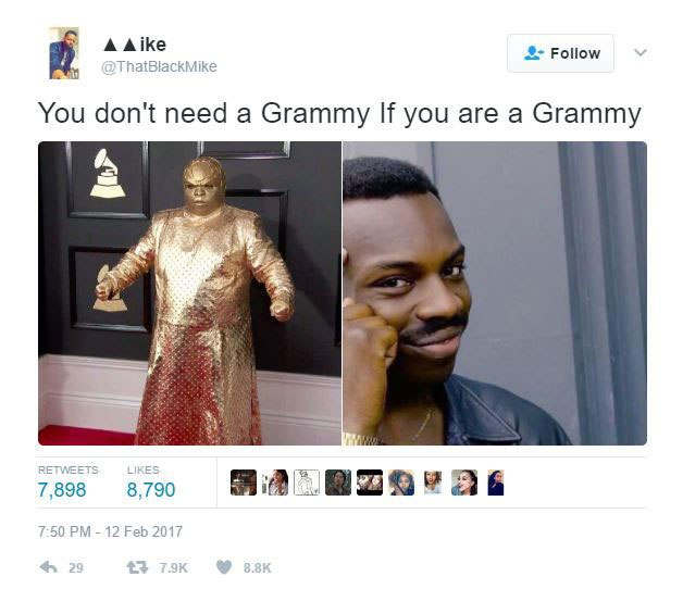 gold ceelo green meme 12 ceelo green wore a gold outfit to the grammys & twitter went crazy