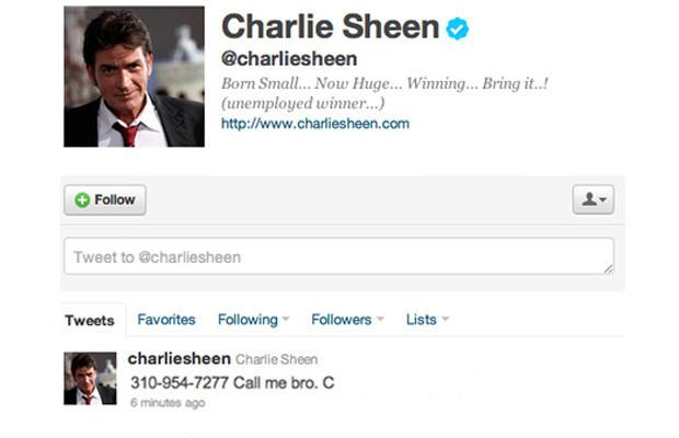 charlie sheen phone number tweet fail